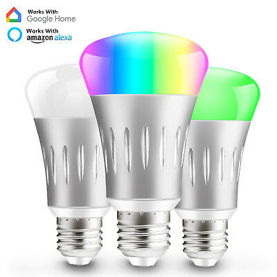 Dimmable E27 RGB LED Wifi Smart Bulb Light Bulbs For Amazon Alexa Google Home