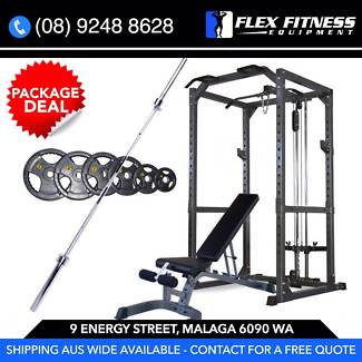 NEW HEAVY DUTY POWER CAGE + LAT + BENCH + WEIGHTS PACKAGE!!