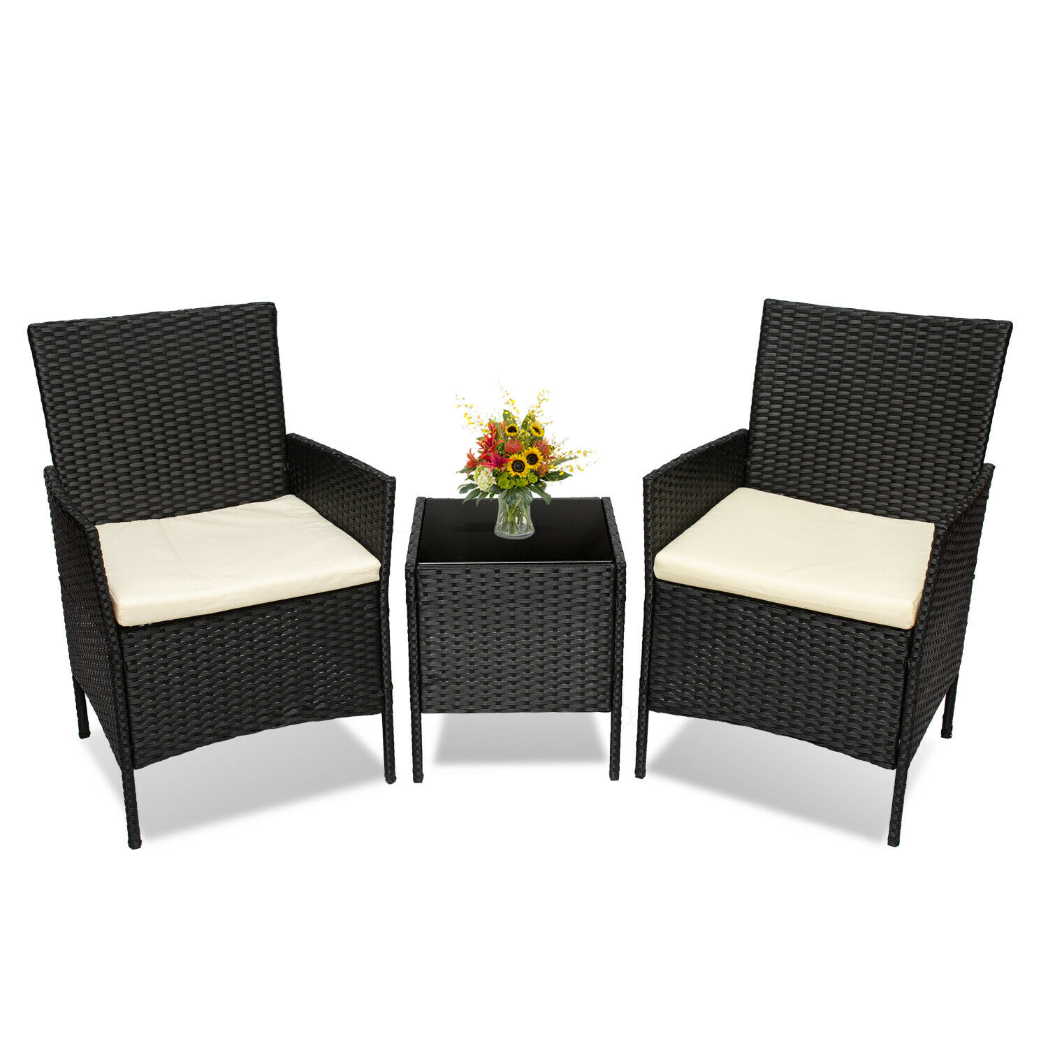 Garden Furniture - 3 PCS Garden Outdoor Patio Furniture Set PE Rattan Wicker Table Chairs and Table