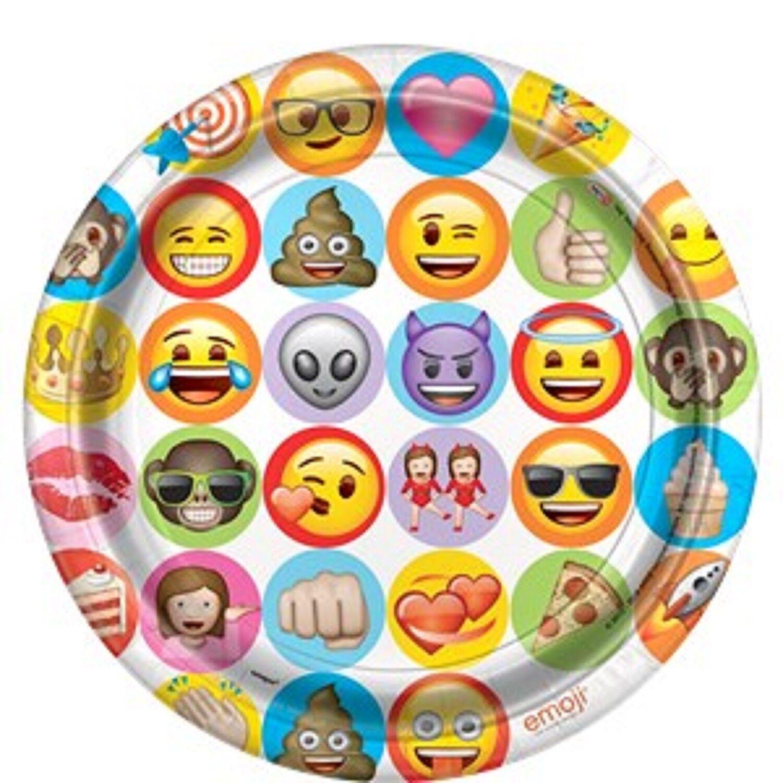 Boys Girls Teens Emoji Fun Birthday Party Decoration Paper Tableware Plates