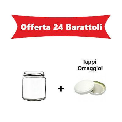OFFERTA 24 Barattoli vasi in vetro per marmellate omogeneizzati conserva 314 ml