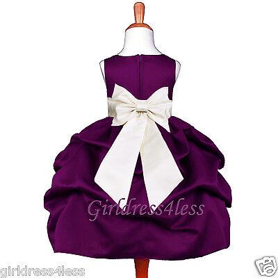 Dark Purple Wedding (US Seller New Plum Dark Purple Wedding Baby Flower Girl Pageant PIck-Up)