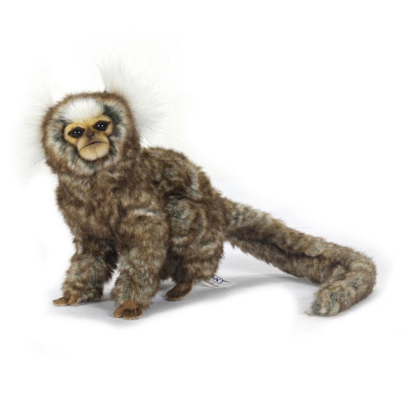 HANSA WHITE EARED MARMOSET MONKEY REALISTIC STUFFED ANIMAL PLUSH TOY 23cm L *NEW