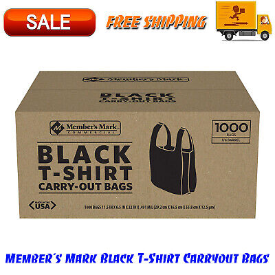 Members Mark Black T-shirt Carryout Bags 1000 Ct. Durable Design Easy-to-tote