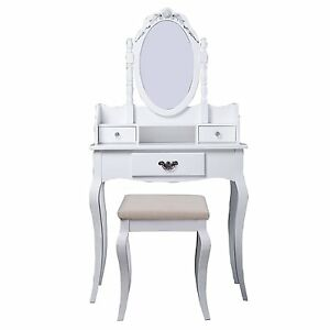 White Vintage Beauty Makeup Table with Stool —Free Shipping—