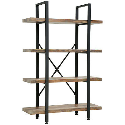 4-Tier Solid wood bookcase industrial Rustic Vintage Open Storage Bookshelf With Bookcases & Shelving