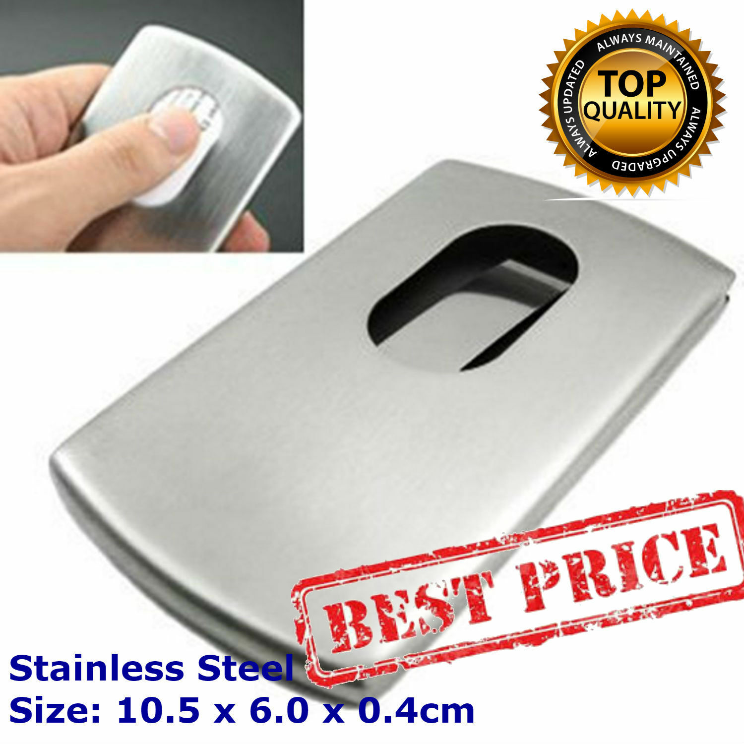 Pocket business card holder stainless steel metal case id credit pocket business card holder stainless steel metal case id credit silver wallet reheart Images