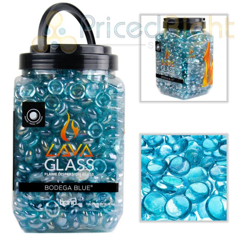 Bodega Blue Fireplace Round Cut LavaGlass Firepit Dispersion Glass 10 lbs