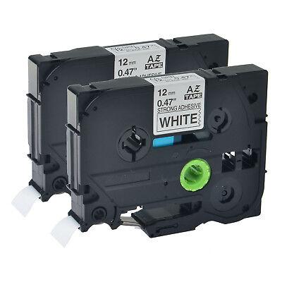 2pk Tze-s231 For Brother Pt-d200 D450 Ex-strength Black On White Label Tape 12mm