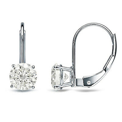 2 ct Round Cut Solitaire Stud Earrings in Solid 14k Real White Gold Leverback