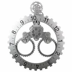 Nice Analog Wall 23 Clock Stainless Steel Industrial Modern Steampunk Gears