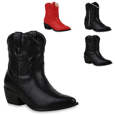 Damen Schuh Stiefel Western (Damen Stiefeletten Cowboy Boots Western Schuhe Stiefel 825612 Trendy Neu)