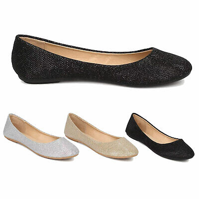 Women Shiny Glitter Ballet Flats Slip On Dress Ballerina Sparkle Wedding Shoes