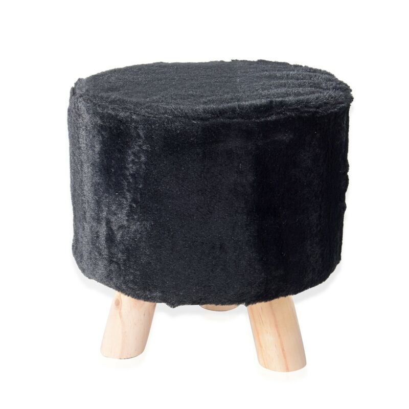 Vanity Soft Furry Ottoman Nursery Wooden Step Stool Padded Seat Foot Rest