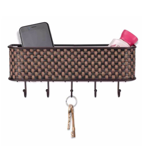 Home Basics Basket Weave Bronze Wire Letter Basket with Key Hooks Home & Garden