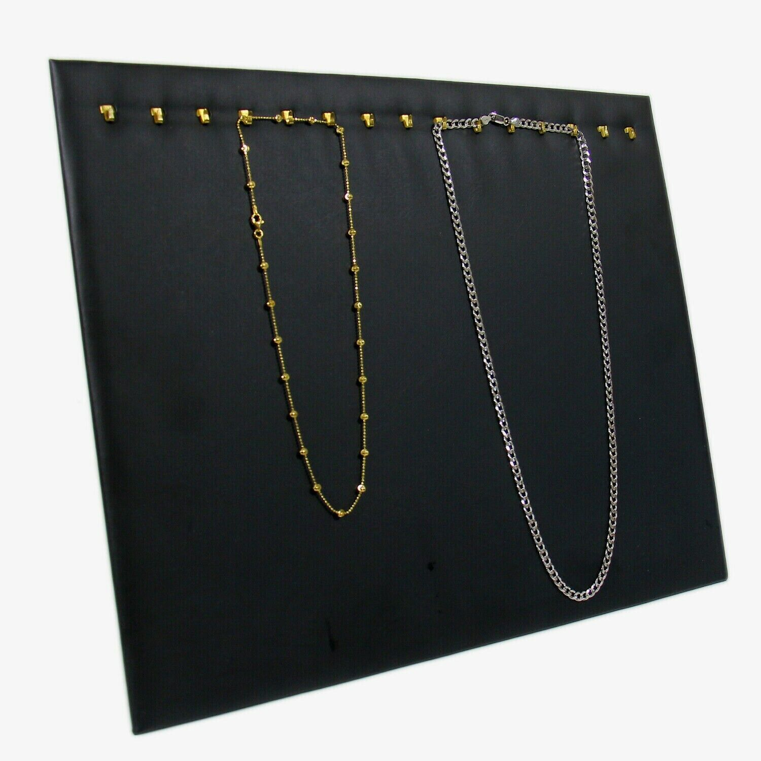 Black Faux Leather 15 Hook Necklace Chain Jewelry Display Ho