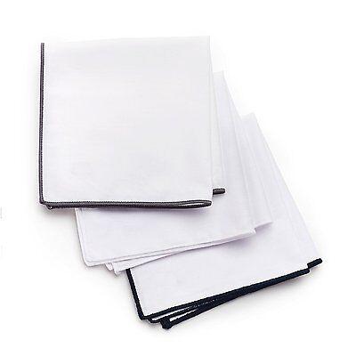 Pocket Square 3-Pk Set, 100% Cotton, White, Navy Blue, Gray Border Gift-Boxed
