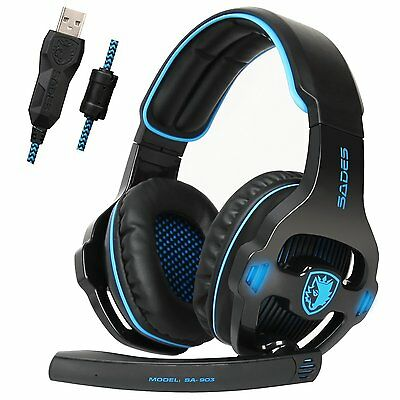 Sades SA-903 7.1 Surround Sound Gaming Headset Headband Bass USB For PC w/Mic
