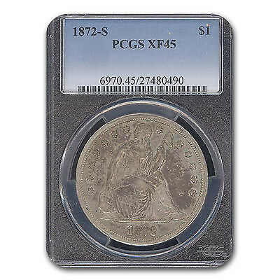 Click now to see the BUY IT NOW Price! 1872 S LIBERTY SEATED DOLLAR XF 45 PCGS   SKU 116319
