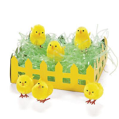 24 CUTE Easter Yellow CHENILLE Chicks Egg Hunt Basket Filler