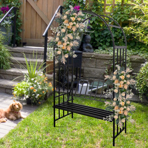 Lawn Garden Arbor Arch with Bench Seat for Climbing Plant Grow Party Decoration