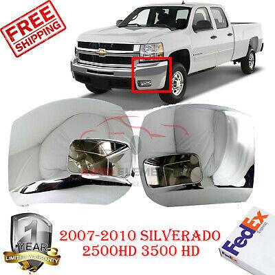 FRONT BUMPER CHROME CAP END 2pc For 2007-10 SILVERADO 2500 3500HD