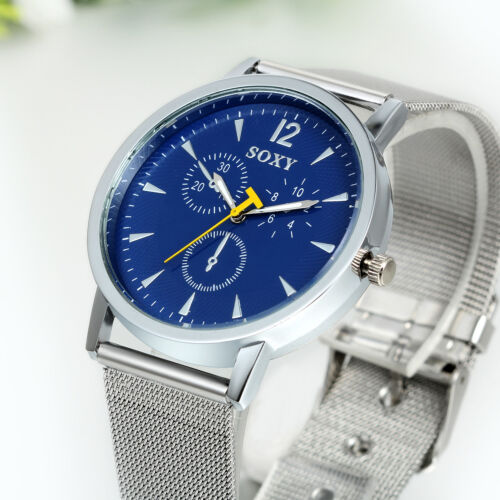 Mens Luxury Silver Tone Mesh Stainless Steel Band Blue Dial Analog Wrist Watch