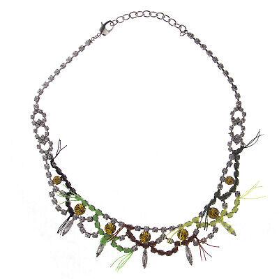 JOOMI LIM Split Personality Crystal Rhodium Necklace with Neon Thread NEW