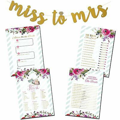 4 Bridal Shower Party Games Bundle set w/ Bonus Miss to Mrs. Banner](Wedding Shower Game)
