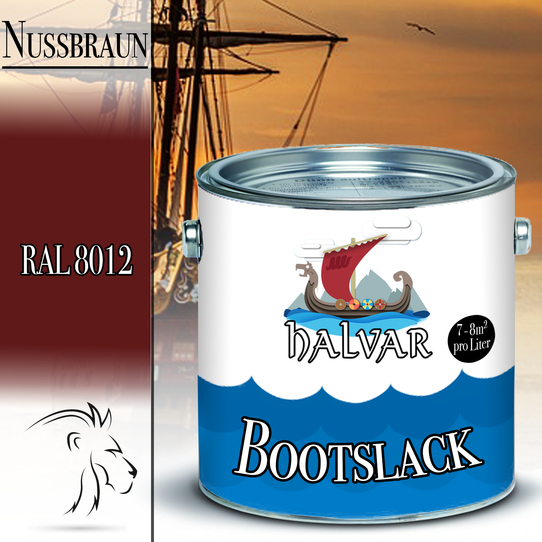 Halvar PU Bootslack Bootsfarbe Yachtlack Metall GFK Holz FARBAUSWAHL Klarlack Rotbraun (RAL 8012)