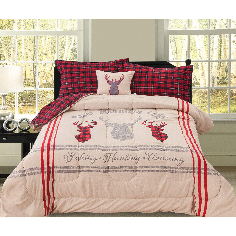 Hunting Fishing Lodge Buffalo Plaid Comforter Bedding Set, Twin Full Queen King Bedding