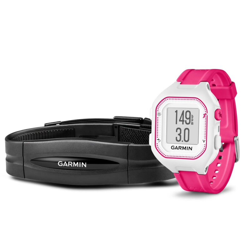 Garmin Forerunner 25 GPS Watch and Activity Tracker + Heart Rate White/Pink 010-01353-61