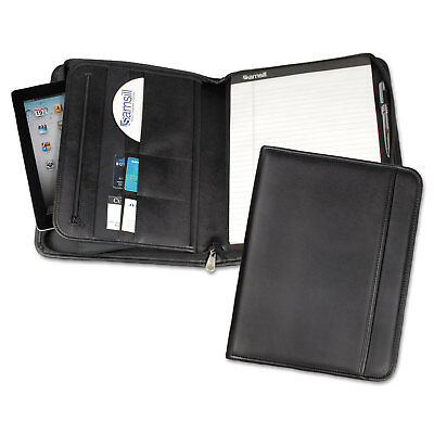 Samsill Professional Zippered Pad Holder Pocketsslots Writing Pad Black 70820
