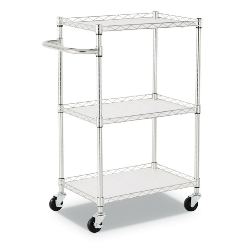 """Alera® 3-Shelf Wire Cart with Liners 28 1/2"""" x 16"""" x 39"""" Silver 500 lbs Capacity"""