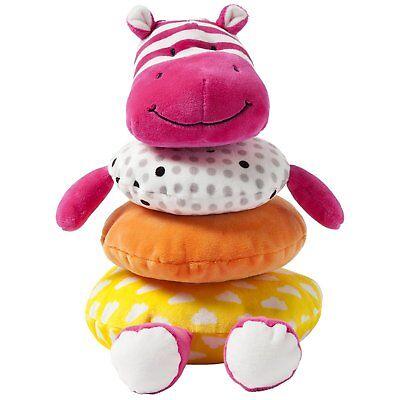 Soft Stacker Baby Toy Pink Hippo Stuffed Animal Patterns Emb