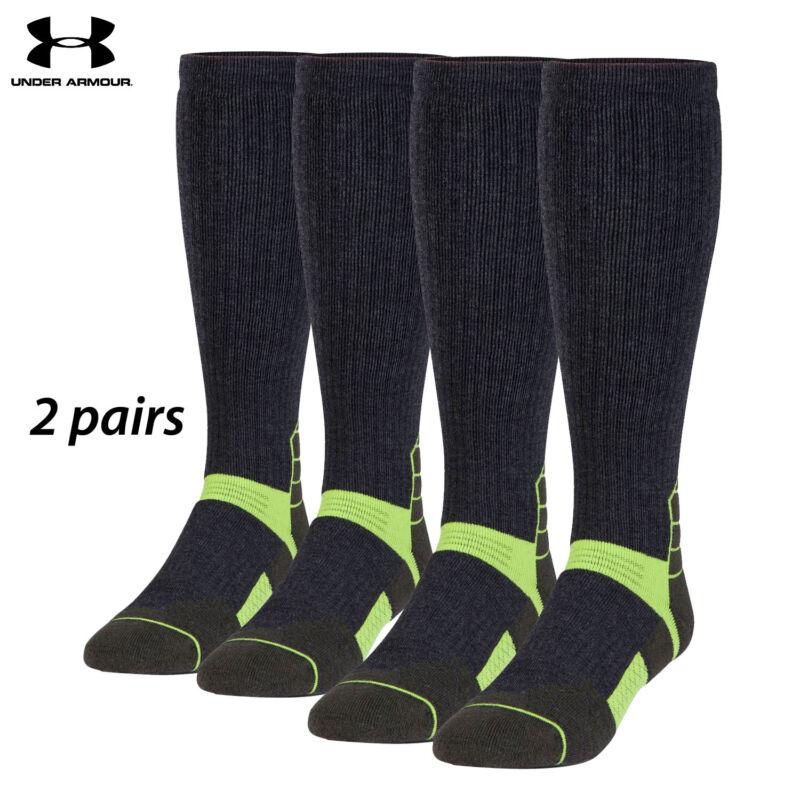 UA Socks: 2-PAIR Sct Ctrl OTC (L) Asphalt