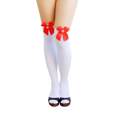 Sexy Krankenschwester Strumpfhose -halterlos- Overknee Strümpfe - Party Kostüm F