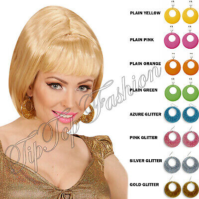 New Ladies Plain & Glitter 60s 80s Mod Earrings Jewelery Fancy Dress Accessory (80s Jewelery)