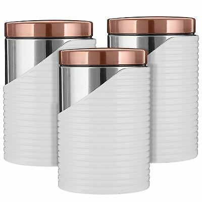 3 Stainless Steel Canisters - Tower 3pc Canisters Tea Coffee Sugar Containers, Stainless Steel White/Rose Gold