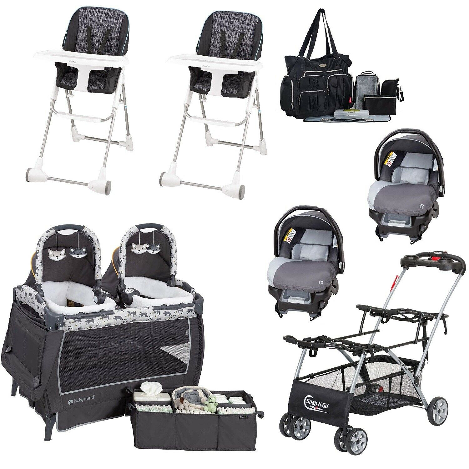 Baby Combo Set Double Stroller Frame 2 Car Seats 2 Chairs Tw