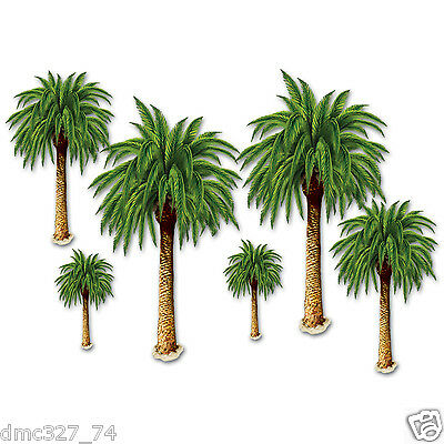 6 LUAU TIKI Hawaiian Party Wall Decoration TROPICAL PALM TREE Add On Props ()