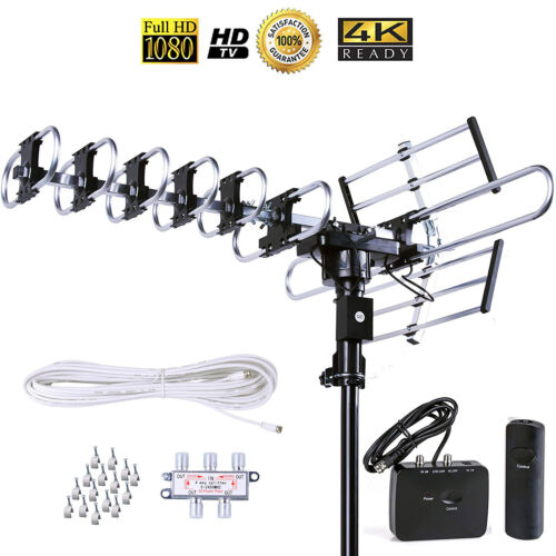 200 Mile Outdoor TV Antenna Amplifier 360 Degree Rotor UHF/VHF/FM Support 5 TVs