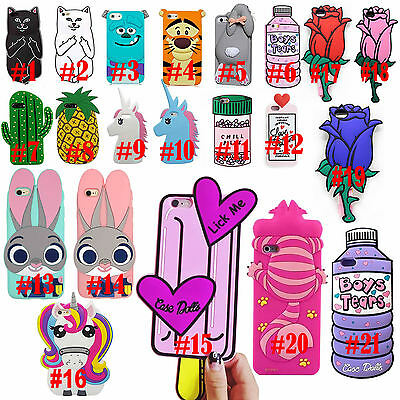 Cute Cartoon Animals Rubber Soft Silicone Back Cover Case For Iphone 6 7 Plus 5S