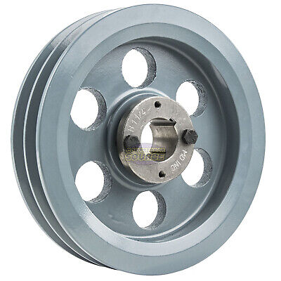 Cast Iron 7.75 2 Groove Dual Belt B Section 5l Pulley 1-14 Sheave Bushing