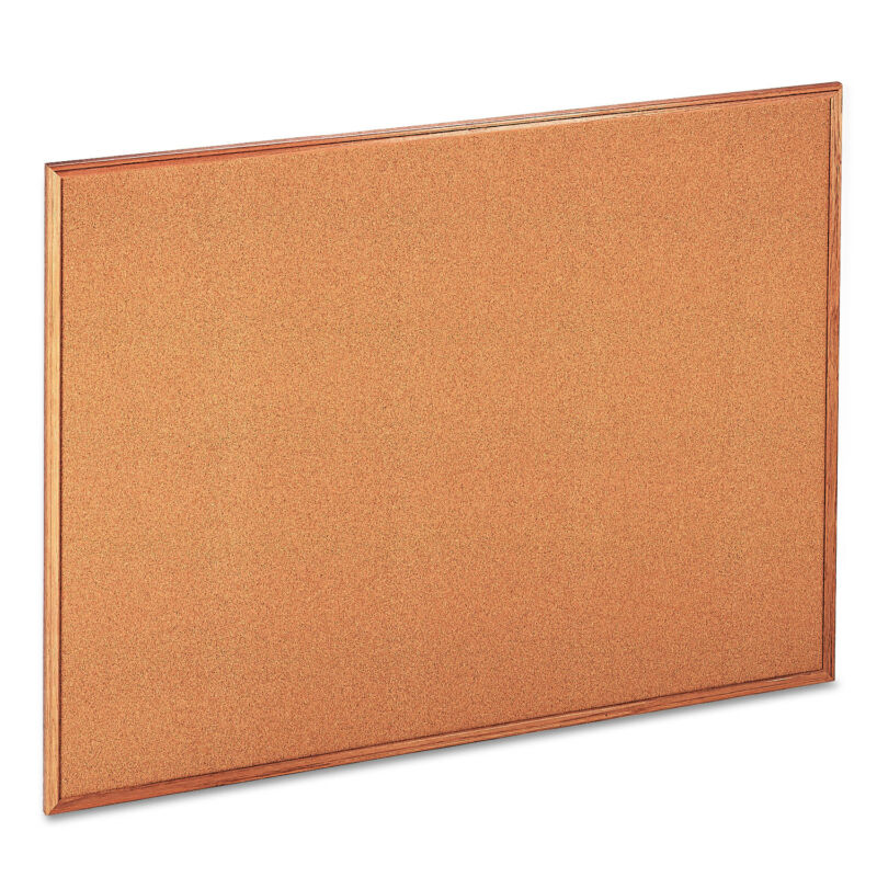 UNIVERSAL Cork Board with Oak Style Frame 48 x 36 Natural Oak-Finished Frame
