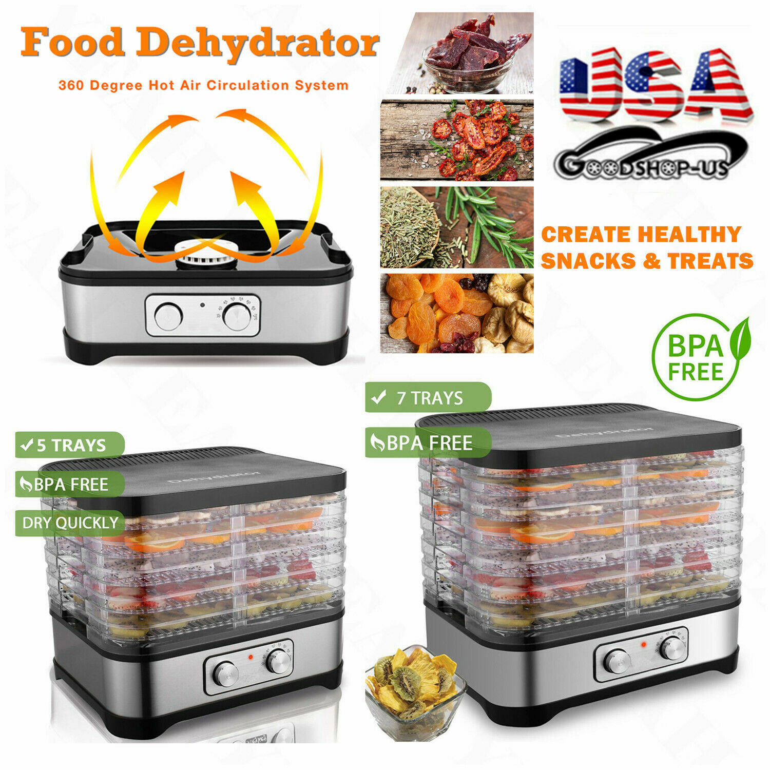 HOMDOX 5/7Tray Electric 250W Food Jerky Fruit Vegetable Dehy