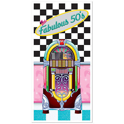 FABULOUS 50s Sock Hop GREASE Party Decoration JUKEBOX DOOR Wall COVER MURAL - Sock Party