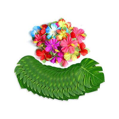 Summer Tiki Luau Decoration Bundle Tropical Palm Leaves Silk Hibiscus Flower - Luau Decoration
