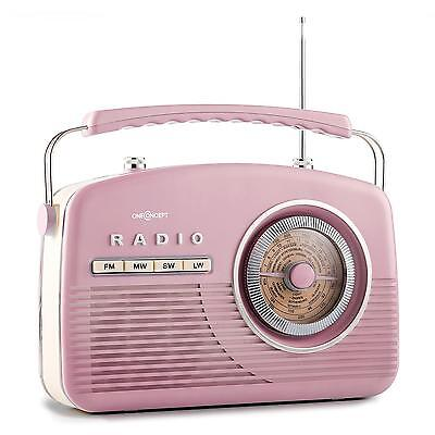 1950's VINTAGE COMPACT FM RADIO 4 BAND TUNER SYSTEM RETRO PINK * FREE P&P OFFER