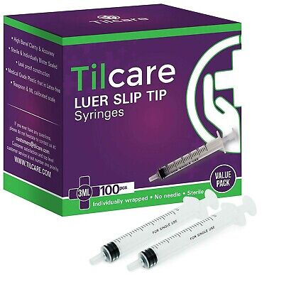 3ml Syringe Without Needle Luer Slip 100 Pack By Tilcare - Sterile Plastic Me...